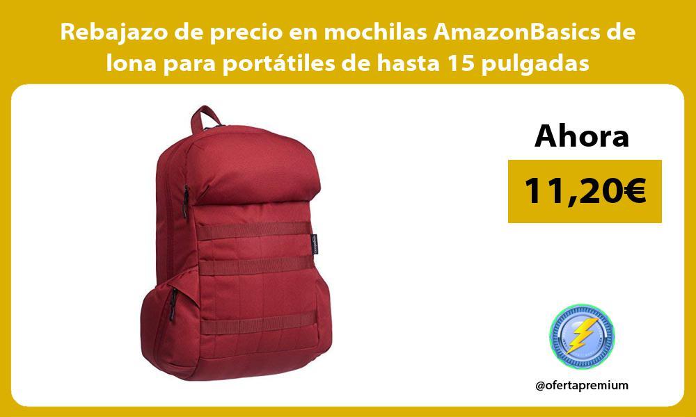 Rebajazo de precio en mochilas AmazonBasics de lona para portátiles de hasta 15 pulgadas