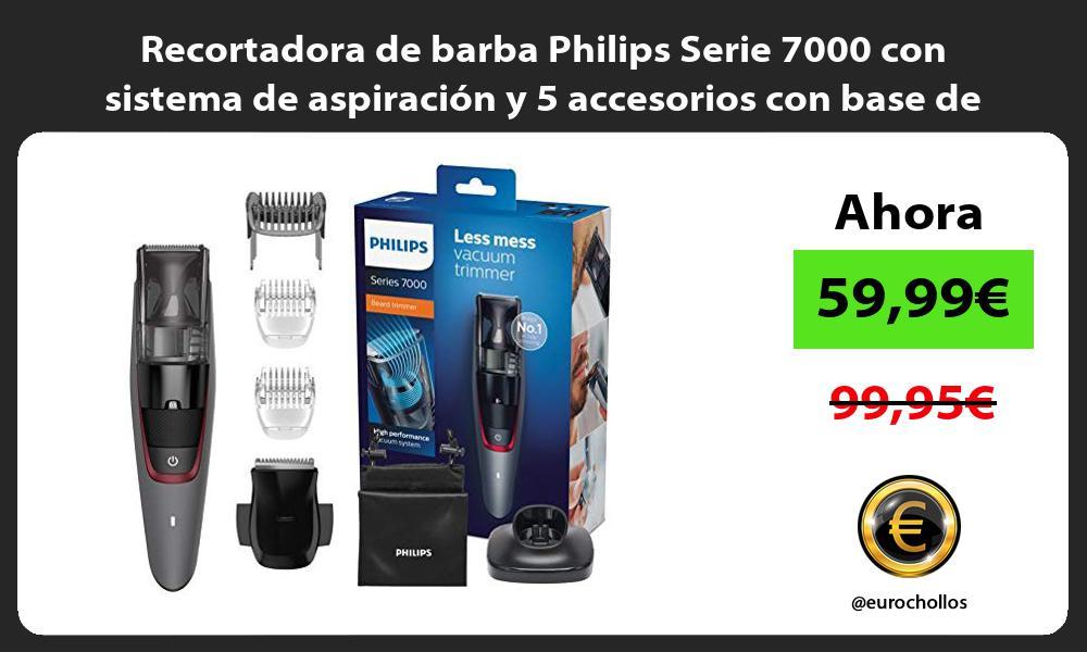 Recortadora de barba Philips Serie 7000 con sistema de aspiración y 5 accesorios con base de carga