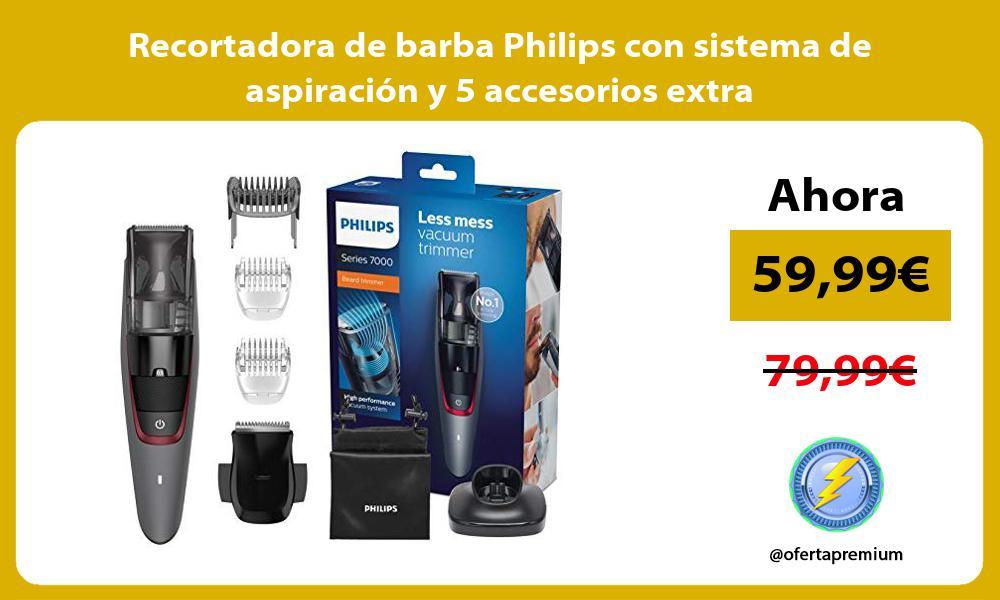 Recortadora de barba Philips con sistema de aspiración y 5 accesorios extra