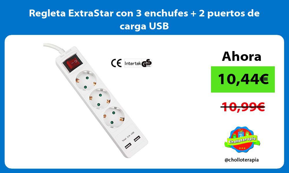Regleta ExtraStar con 3 enchufes 2 puertos de carga USB