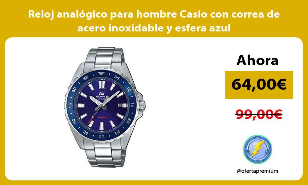 Reloj analógico para hombre Casio con correa de acero inoxidable y esfera azul