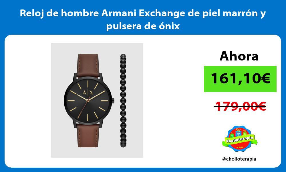 Reloj de hombre Armani Exchange de piel marrón y pulsera de ónix