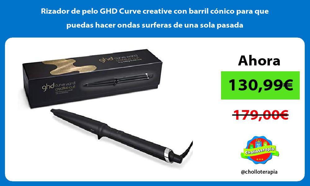 Rizador de pelo GHD Curve creative con barril cónico para que puedas hacer ondas surferas de una sola pasada