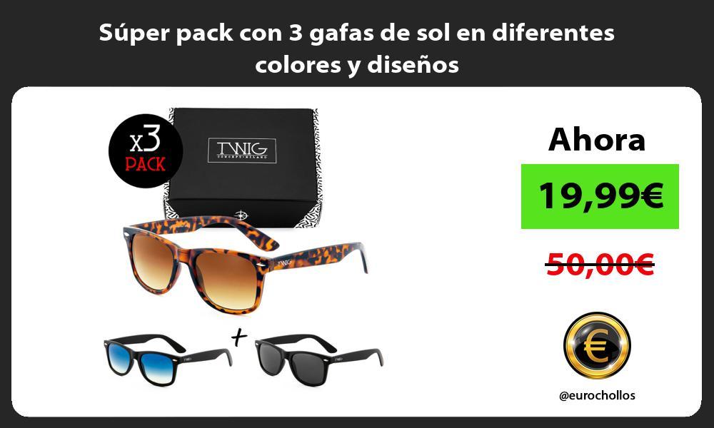 Súper pack con 3 gafas de sol en diferentes colores y diseños