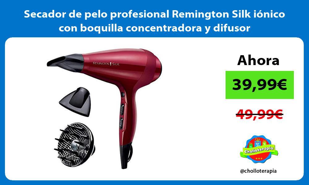 Secador de pelo profesional Remington Silk iónico con boquilla concentradora y difusor