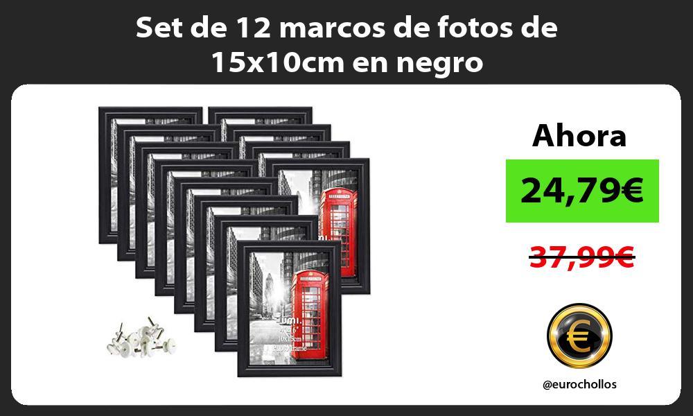 Set de 12 marcos de fotos de 15x10cm en negro