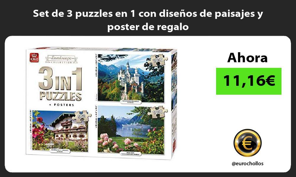Set de 3 puzzles en 1 con diseños de paisajes y poster de regalo