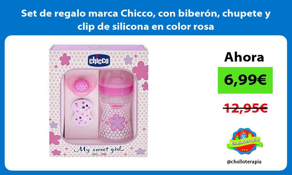 Set de regalo marca Chicco con biberón chupete y clip de silicona en color rosa