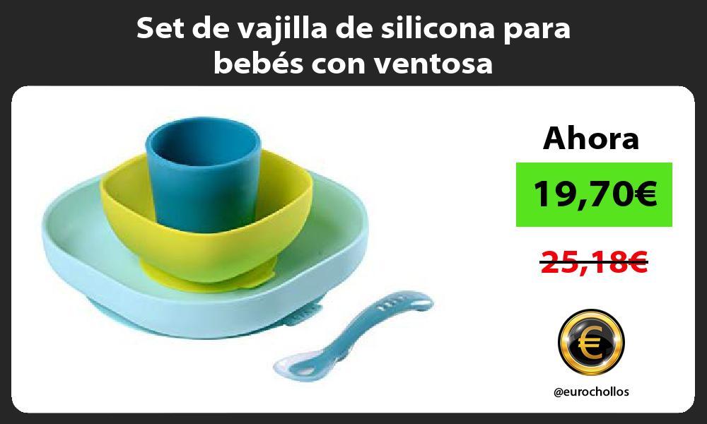 Set de vajilla de silicona para bebés con ventosa