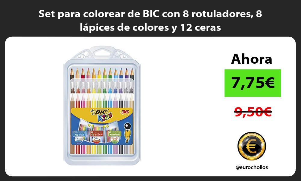 Set para colorear de BIC con 8 rotuladores 8 lápices de colores y 12 ceras