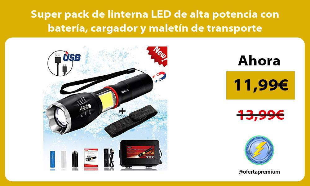 Super pack de linterna LED de alta potencia con batería cargador y maletín de transporte