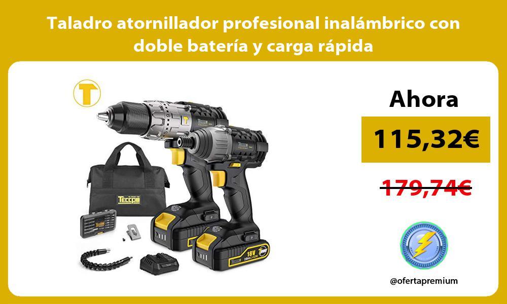 Taladro atornillador profesional inalámbrico con doble batería y carga rápida