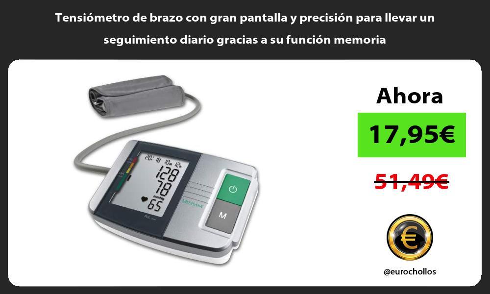 Tensiómetro de brazo con gran pantalla y precisión para llevar un seguimiento diario gracias a su función memoria