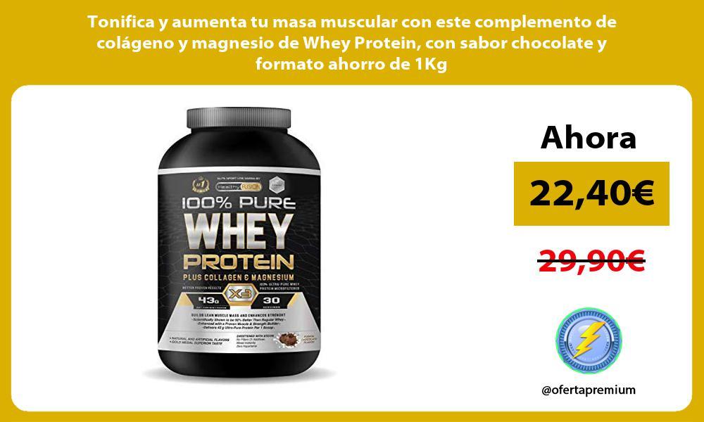 Tonifica y aumenta tu masa muscular con este complemento de colágeno y magnesio de Whey Protein con sabor chocolate y formato ahorro de 1Kg