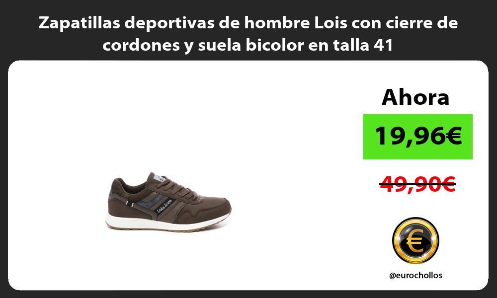 Zapatillas deportivas de hombre Lois con cierre de cordones y suela bicolor en talla 41