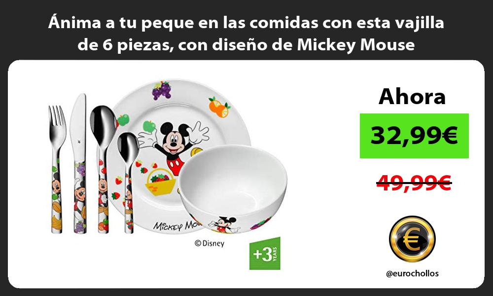nima a tu peque en las comidas con esta vajilla de 6 piezas con diseño de Mickey Mouse