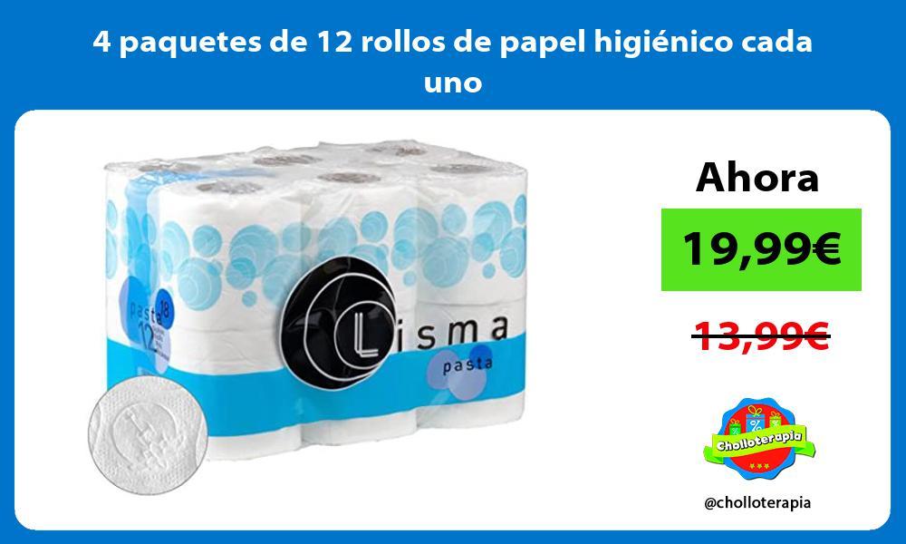4 paquetes de 12 rollos de papel higiénico cada uno