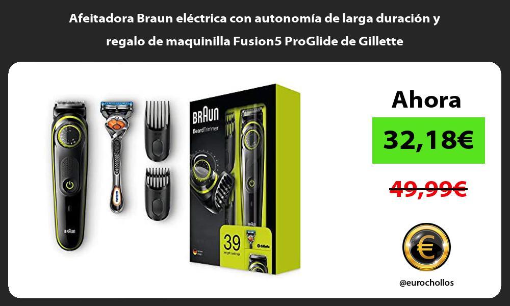 Afeitadora Braun eléctrica con autonomía de larga duración y regalo de maquinilla Fusion5 ProGlide de Gillette