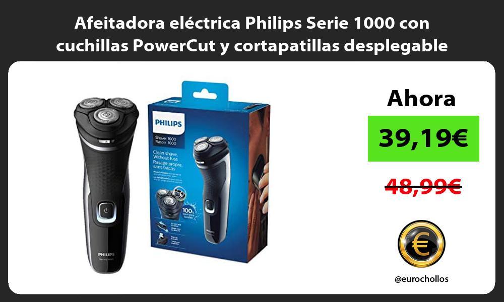 Afeitadora eléctrica Philips Serie 1000 con cuchillas PowerCut y cortapatillas desplegable