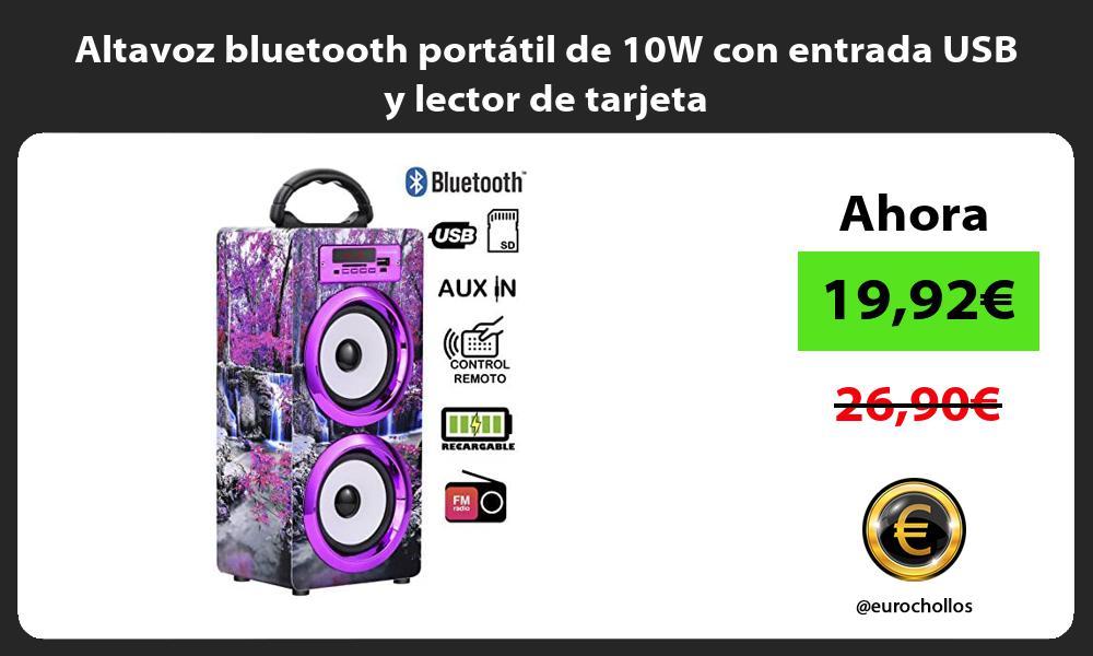 Altavoz bluetooth portátil de 10W con entrada USB y lector de tarjeta