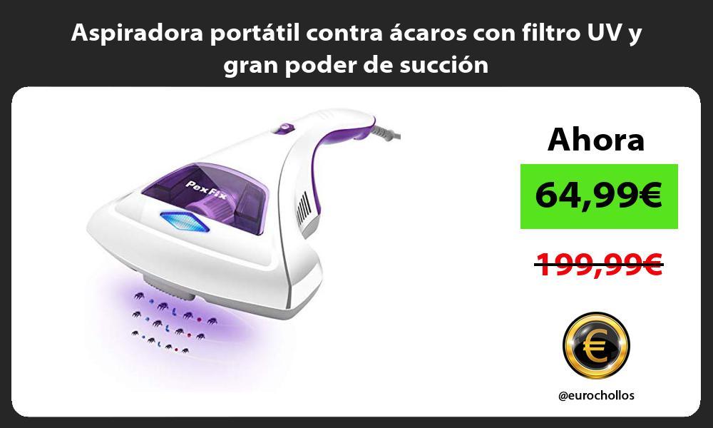 Aspiradora portátil contra ácaros con filtro UV y gran poder de succión