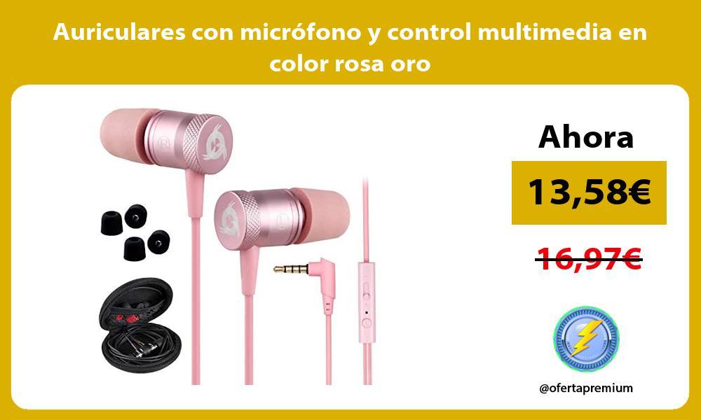 Auriculares con micrófono y control multimedia en color rosa oro