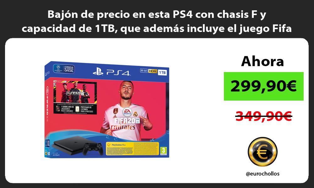 Bajón de precio en esta PS4 con chasis F y capacidad de 1TB que además incluye el juego Fifa 20