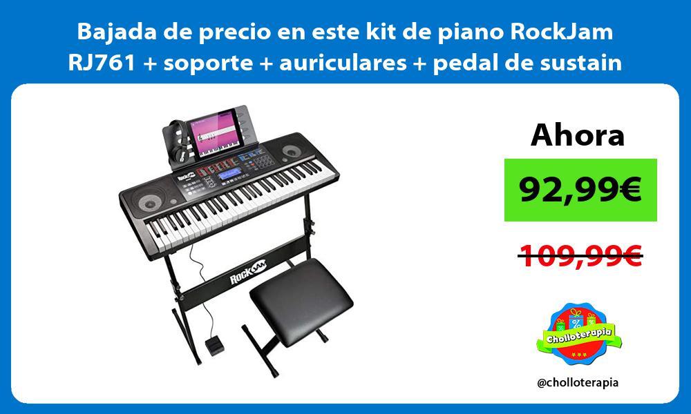 Bajada de precio en este kit de piano RockJam RJ761 soporte auriculares pedal de sustain