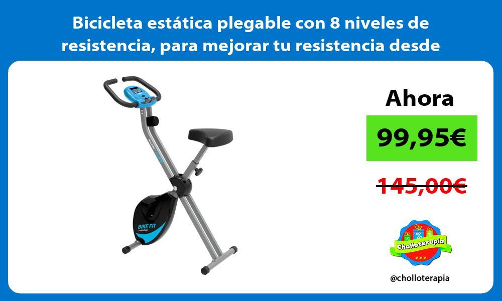Bicicleta estática plegable con 8 niveles de resistencia para mejorar tu resistencia desde casa