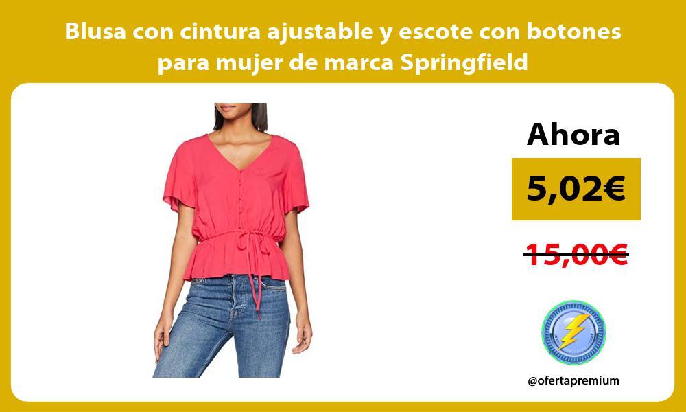 Blusa con cintura ajustable y escote con botones para mujer de marca Springfield