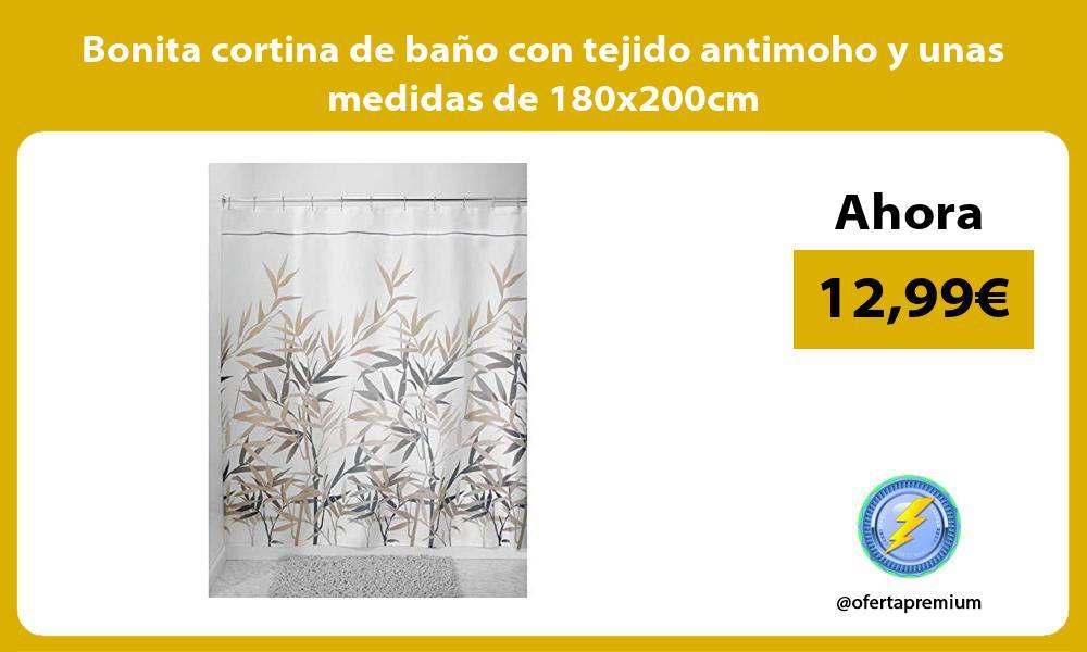 Bonita cortina de baño con tejido antimoho y unas medidas de 180x200cm