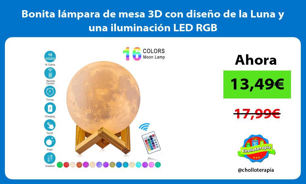 Bonita lámpara de mesa 3D con diseño de la Luna y una iluminación LED RGB