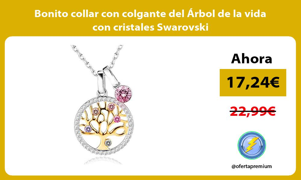 Bonito collar con colgante del Árbol de la vida con cristales Swarovski