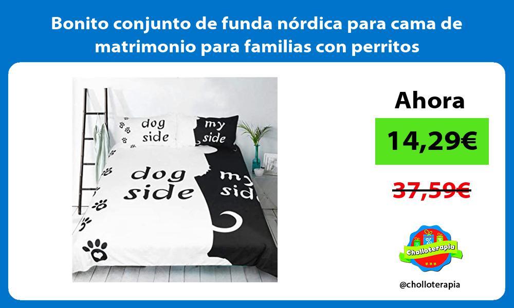 Bonito conjunto de funda nórdica para cama de matrimonio para familias con perritos