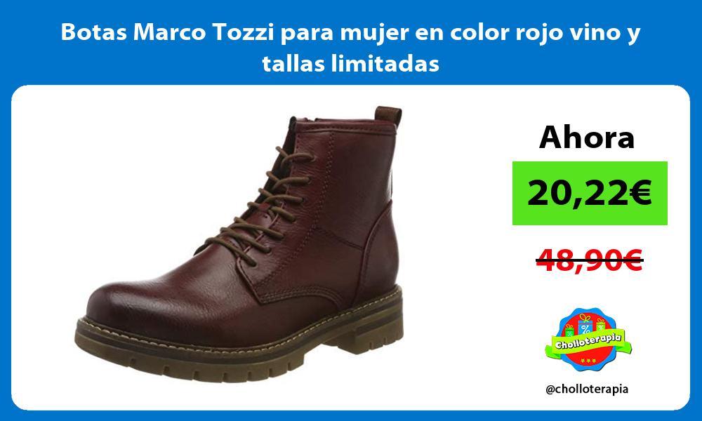 Botas Marco Tozzi para mujer en color rojo vino y tallas limitadas