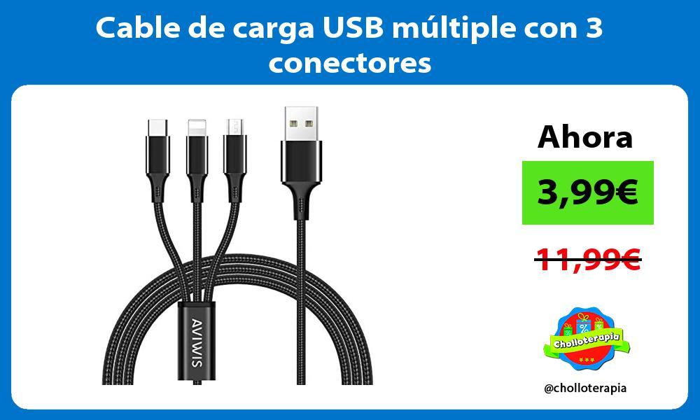 Cable de carga USB múltiple con 3 conectores