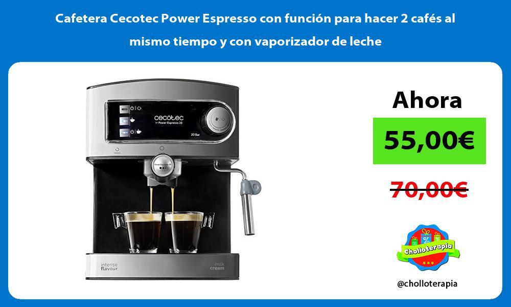Cafetera Cecotec Power Espresso con función para hacer 2 cafés al mismo tiempo y con vaporizador de leche