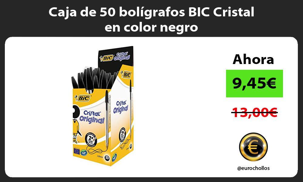 Caja de 50 bolígrafos BIC Cristal en color negro