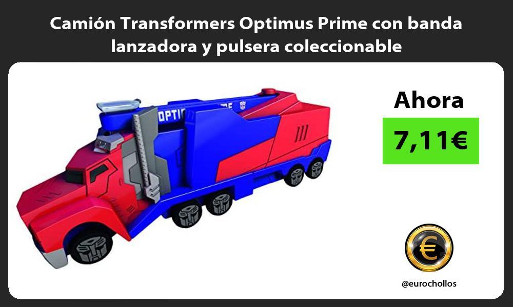 Camión Transformers Optimus Prime con banda lanzadora y pulsera coleccionable