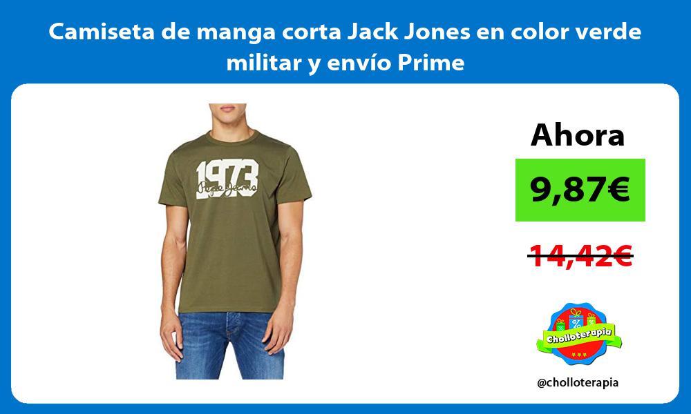 Camiseta de manga corta Jack Jones en color verde militar y envío Prime