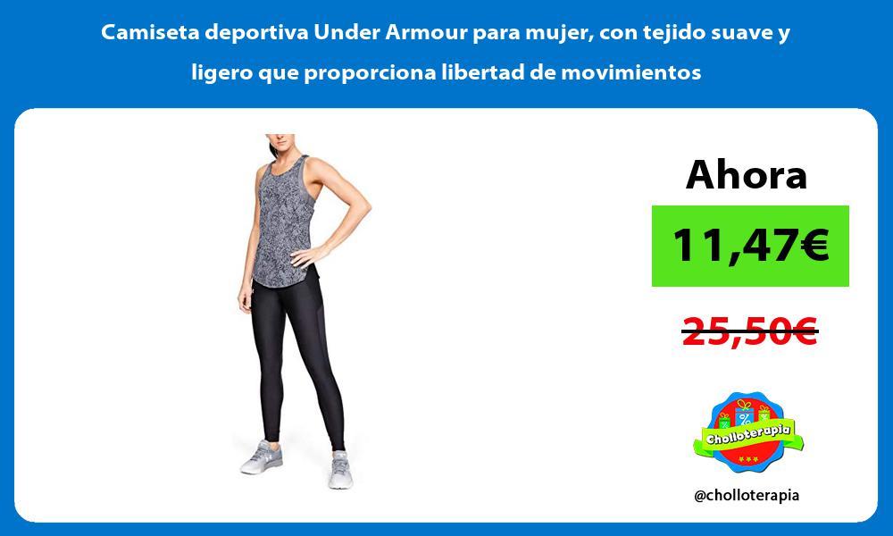 Camiseta deportiva Under Armour para mujer con tejido suave y ligero que proporciona libertad de movimientos