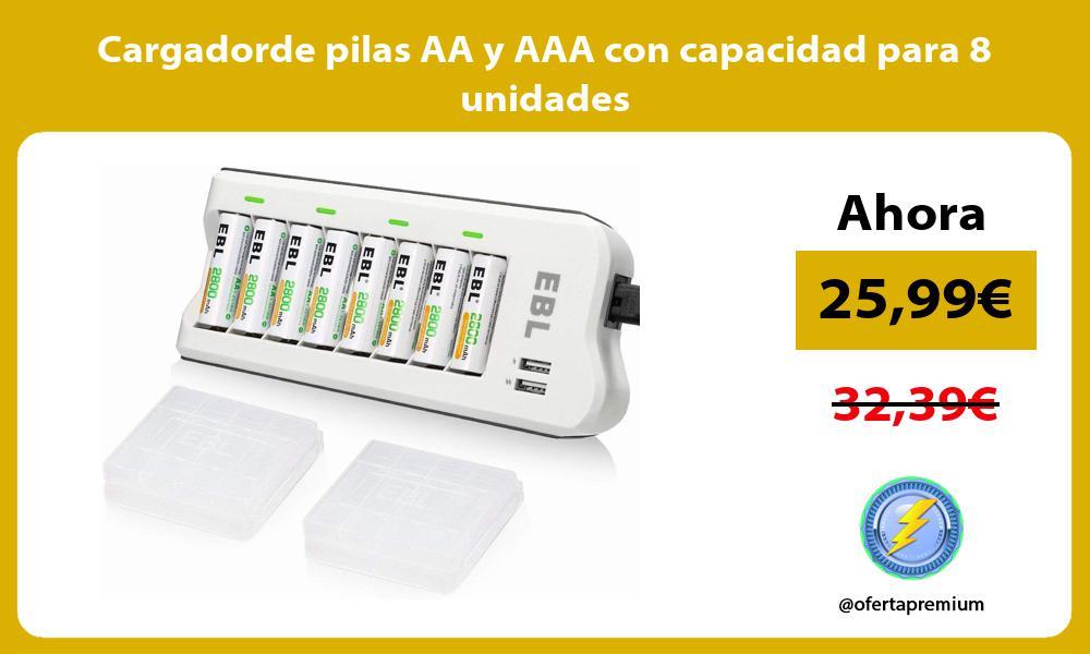Cargadorde pilas AA y AAA con capacidad para 8 unidades
