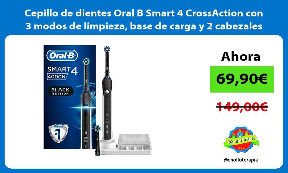 Cepillo de dientes Oral B Smart 4 CrossAction con 3 modos de limpieza base de carga y 2 cabezales