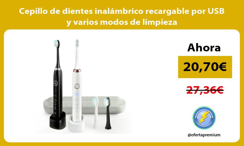 Cepillo de dientes inalámbrico recargable por USB y varios modos de limpieza