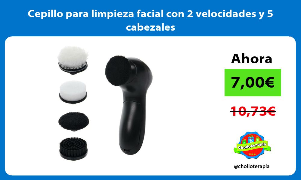 Cepillo para limpieza facial con 2 velocidades y 5 cabezales
