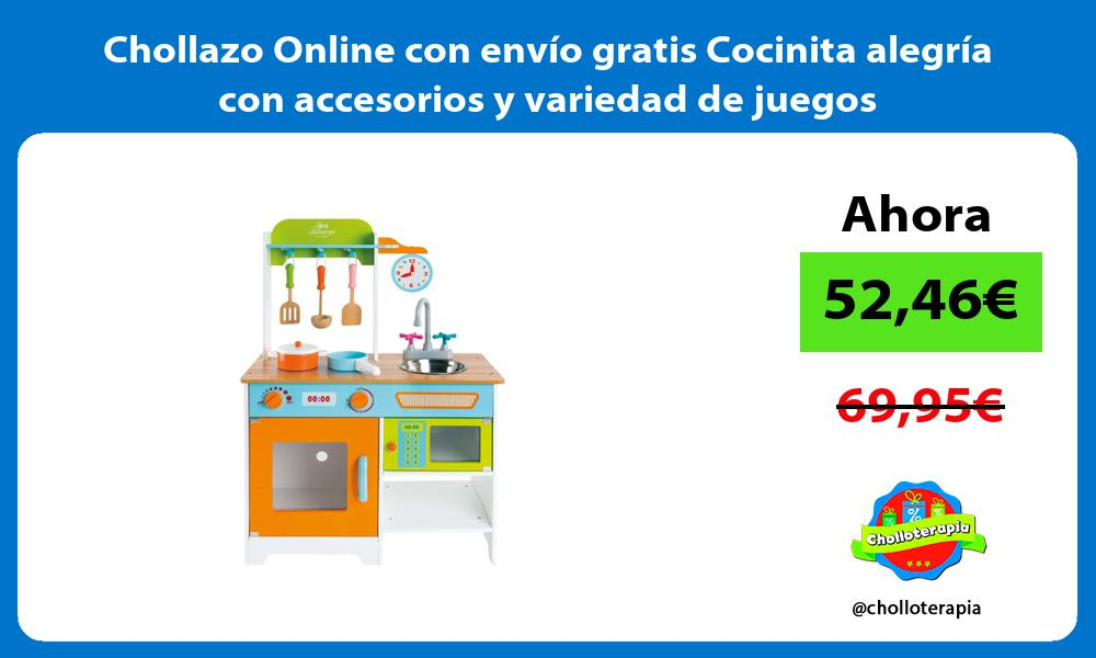 Chollazo Online con envío gratis Cocinita alegría con accesorios y variedad de juegos