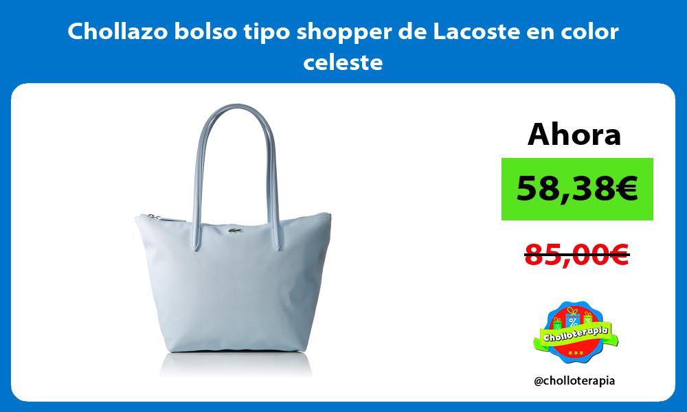 Chollazo bolso tipo shopper de Lacoste en color celeste