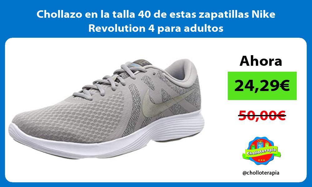 Chollazo en la talla 40 de estas zapatillas Nike Revolution 4 para adultos