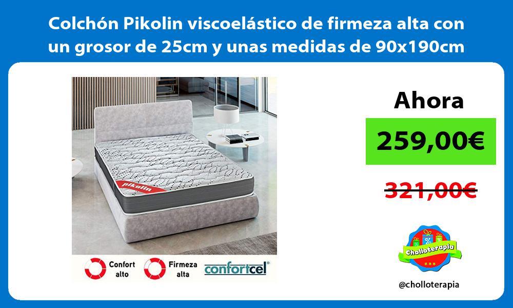 Colchón Pikolin viscoelástico de firmeza alta con un grosor de 25cm y unas medidas de 90x190cm