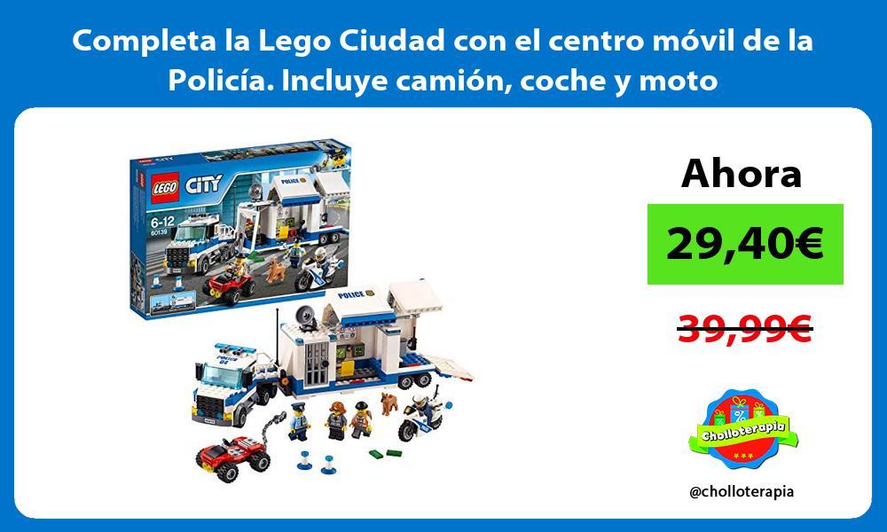 Completa la Lego Ciudad con el centro móvil de la Policía Incluye camión coche y moto